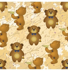 Seamless pattern teddy bears with toys vector image