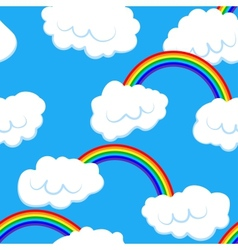 Seamless pattern with clouds and rainbow vector
