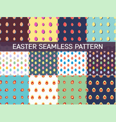 Set 12 seamless patterns with easter eggs vector
