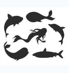 set fish silhouettes with mermaid dolphin whale vector image