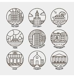 Set line city circle icons vector