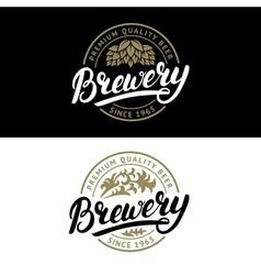 Set of Brewery hand written lettering logo label vector