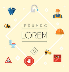 set of industry icons flat style symbols with work vector image