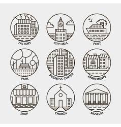 Set of line city circle icons vector