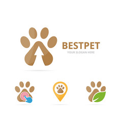set of paw logo combination pet and growth symbol vector image