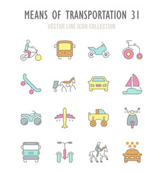 set retro icons means transportation vector image