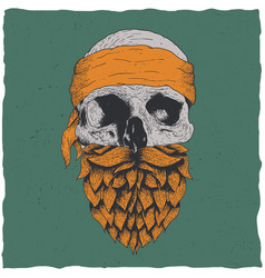 Skull with beard vector