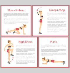 Slow climber poster collection vector