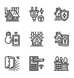 smart house icon set outline style vector image