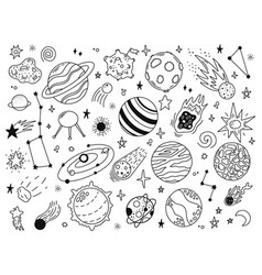 Space doodles sketch space planets hand drawn vector