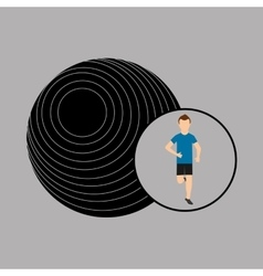 Sport man running and fitball vector