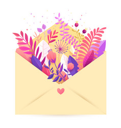 spring floral bouquet flowers in envelope vector image