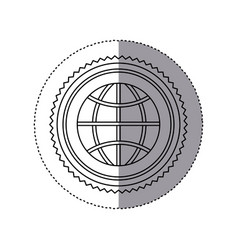Sticker monochrome of circular frame with ecologic vector