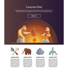 stone age family cartoon cavemen template vector image
