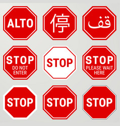 Stop road sign set different versions also vector