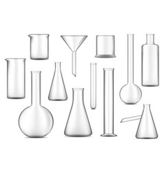test tubes flasks and beakers checimal lab glass vector image