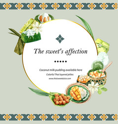 Thai sweet wreath design with pudding sticky rice vector