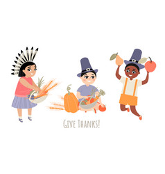 thanksgiving greeting card with children vector image