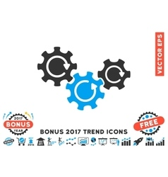 Transmission gears rotation flat icon with 2017 vector