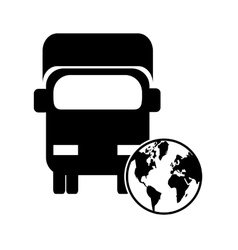 truck or van and earth globe icon vector image