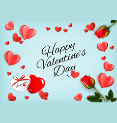 valentine day holiday getting card with red rose vector image