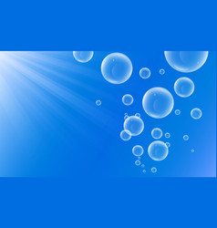 water bubble underwater blue ocean with light rays vector image