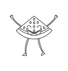 watermelon fresh fruit kawaii character vector image