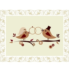 Wedding invitation with birds vector image