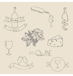 Wine icon label vector image