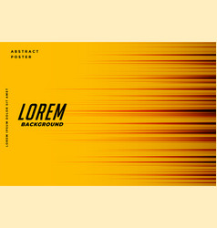 Yellow background with motion speed lines design vector