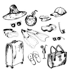 Collection of accessories for holidays vector image vector image