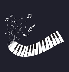 flat abstract piano keyboard with notes on black vector image