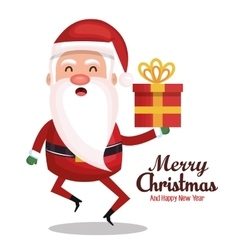 santa claus holding gift merry christmas design vector image