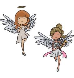 Set of angels vector image