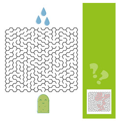 Cactus and water maze game for younger kids with a vector