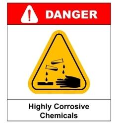 Corrosive sign Warning sign Danger sign vector image