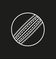 cricket ball icon on black background vector image