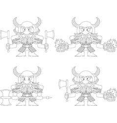 Dwarfs with beer mugs and axes outline vector image