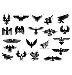 Heraldic eagles falcons and hawks set vector image