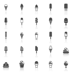 Ice cream icons with reflect on white background vector image vector image