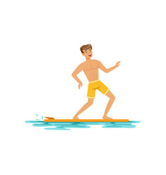smiling man surfing on the ocean water extreme vector image vector image