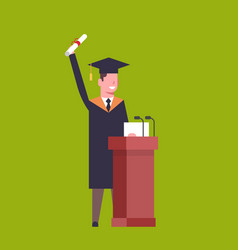 happy student in graduation cap and gown standing vector image