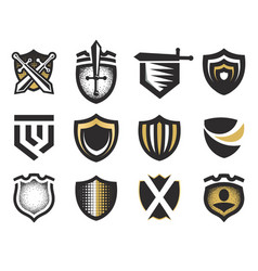 isolated abstract medieval shields logos set coat vector image