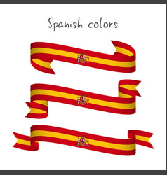 set of three ribbons with the spanish colors vector image vector image