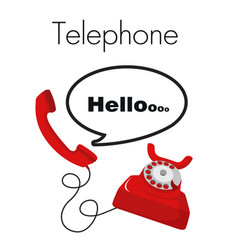 telephone hello red telephone white background vec vector image