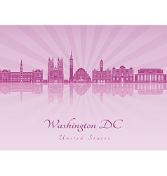 Washington DC V2 skyline in purple radiant orchid vector image