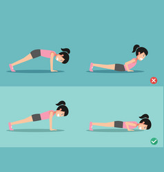 wrong and right push-up posture vector image vector image