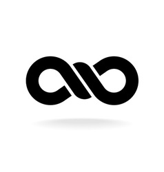 Infinity knot logo black chain link symbol with vector