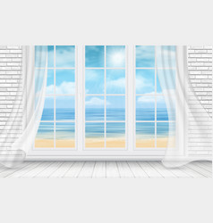 Room with white brick wall and window vector