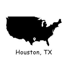 1276 houston tx on usa map vector